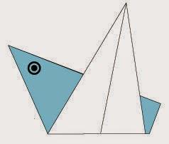 Bước 5: Vẽ mắt để hoàn thành cách xếp con chim bằng giấy origami đơn giản - a bird.