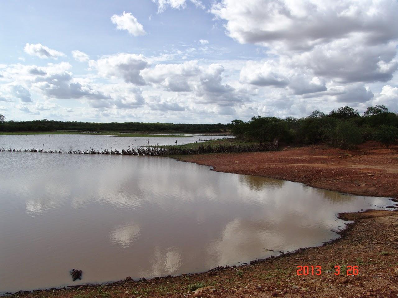 Açude com água na caatinga
