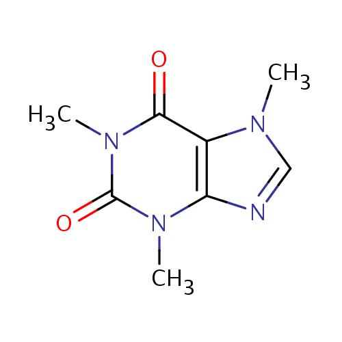 Struktur kafein (Struktur kimia kafein / caffeine)