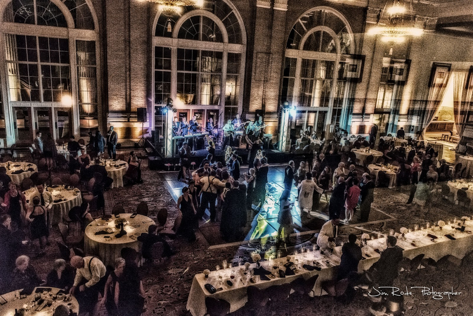 The reception and dance goes into the night at the Union Station wedding.