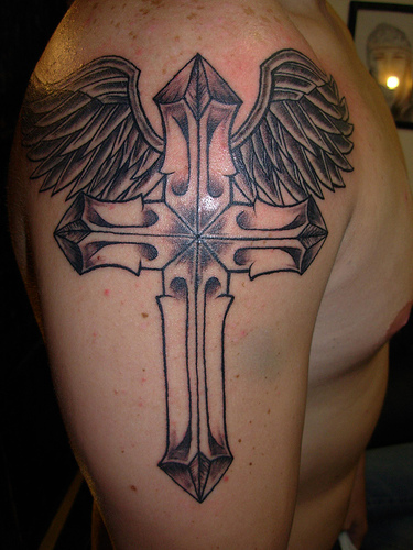 Hair wallpapper cross tattoos with wings for men for Tattoo cross with wings