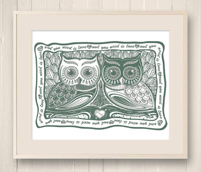 Owl pair illustration.