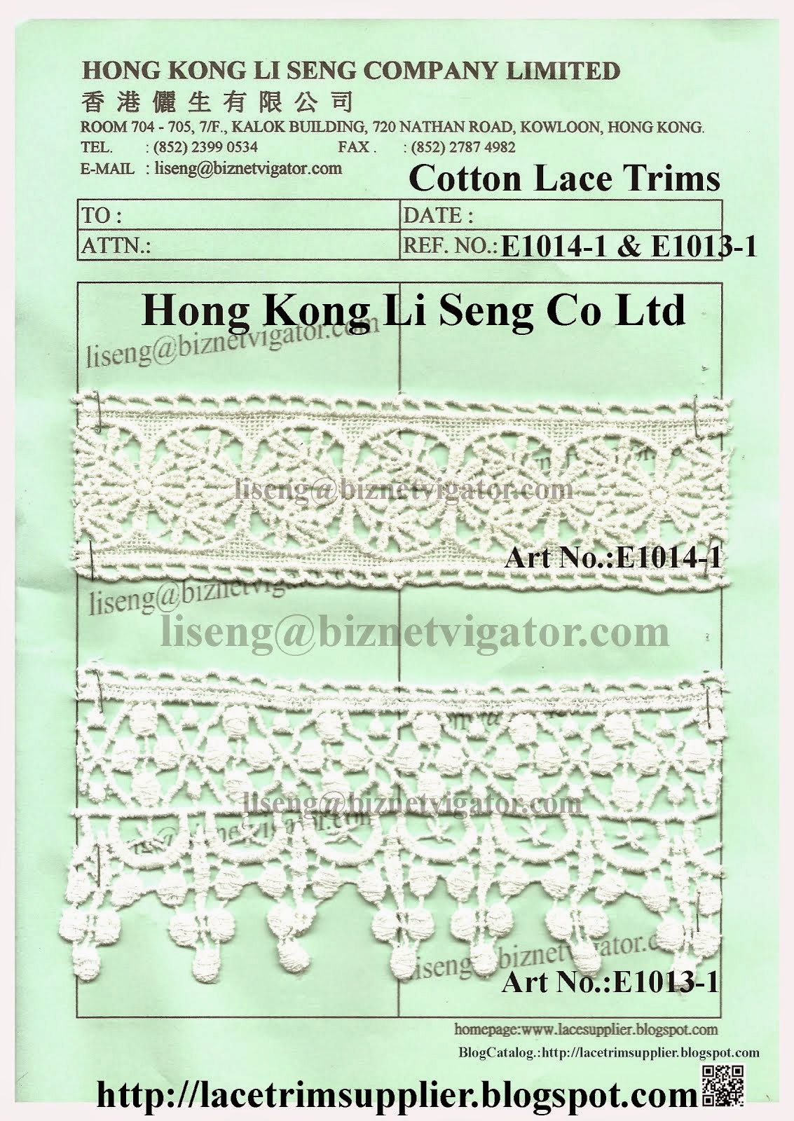 Embroidered Cotton Lace Trims Manufacturer Wholesale and Supplier - Hong Kong Li Seng Co Ltd
