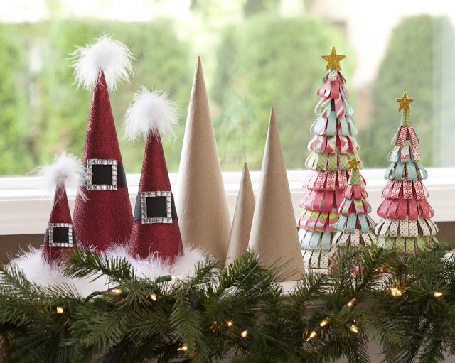 Holiday Paper Mache Cones @craftsavvy @sarahowens #craftwarehouse #papermache #cones #christmas #diy
