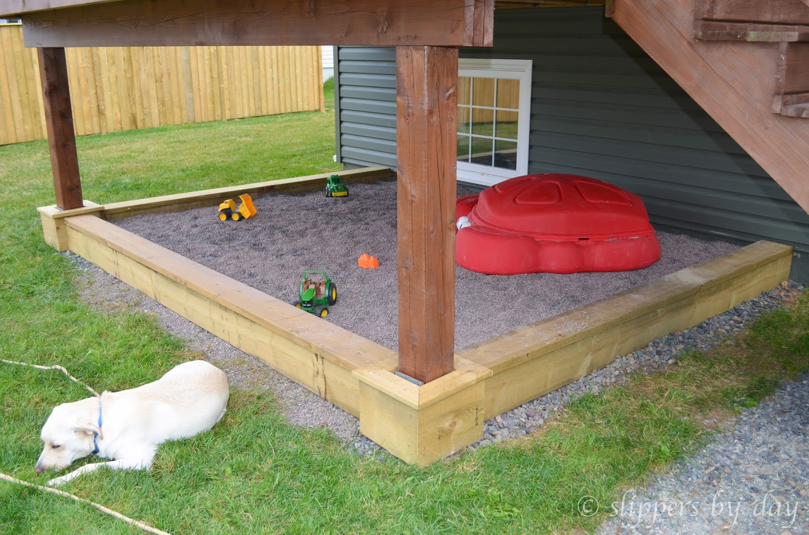 slippers by day diy sandbox beneath a raised deck. Black Bedroom Furniture Sets. Home Design Ideas