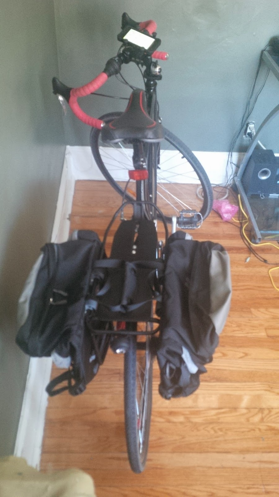 My bike set up (rear rack, panniers and cell phone mount)