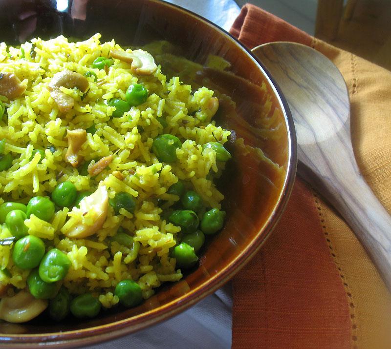Green Pea Pulao with Cashews | Lisa's Kitchen | Vegetarian Recipes ...