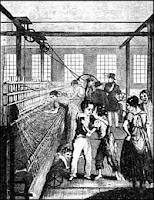 engraving of early textile mill