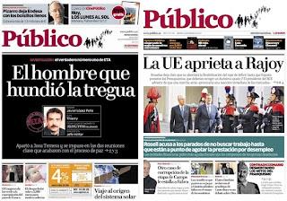 Primera y última portada del diario Público