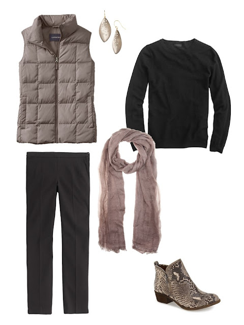 outfit with beige down vest, black sweater and pants