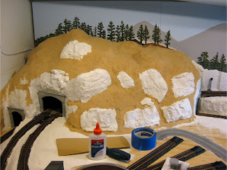 Painting hardshell terrain with tan acrylic paint