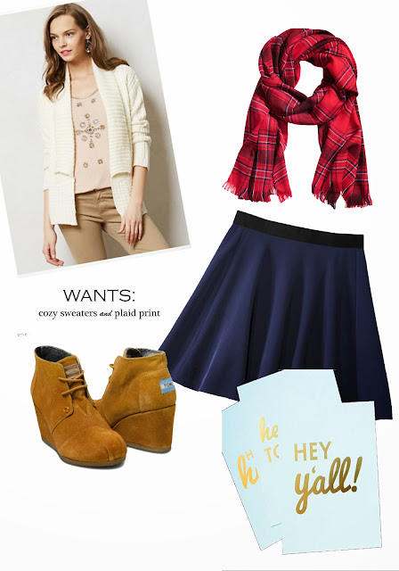 fall fashion, plaid, scarf, sweater, cozy, Philip Lim for Target, skirt, boots, booties, wedges, Toms, print, etsy, southern, blog, A hammer & Heels