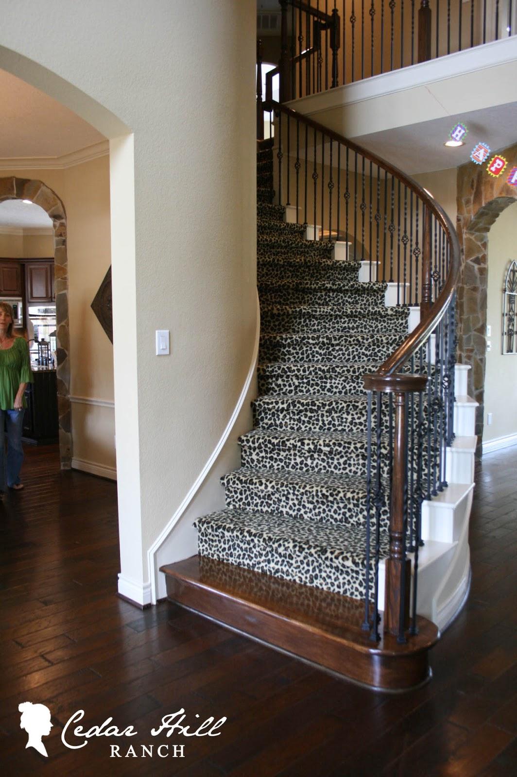 Ashley 39 s house cedar hill farmhouse for Leopard print carpet stair runner