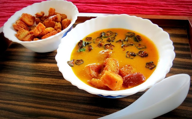 Cream of Chicken Tomato Soup with Fried Okra