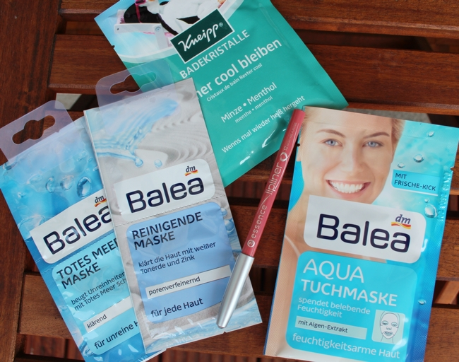 Baela Totes Meer Maske, Balea reinigende Maske, Balea Aqua Tuchmaske, Kneipp Badekristalle immer cool bleiben Minze
