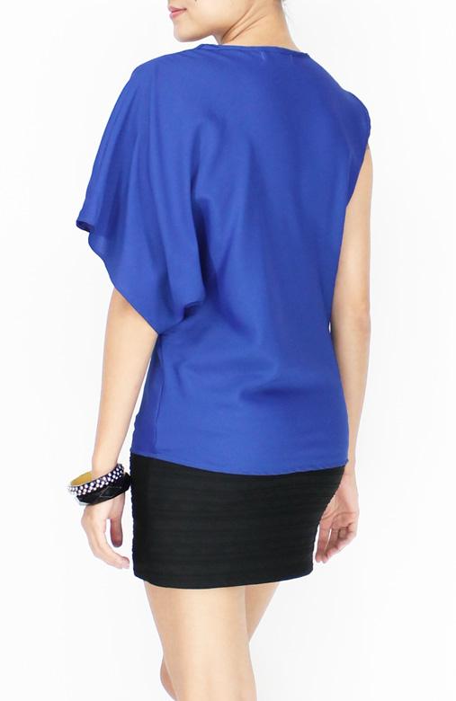 Cobalt Rare One Sleeve Top with Drape Neck