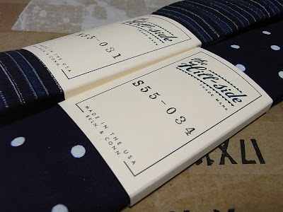 The hill-Side S55-031 Shijira Dobby Stripe Tie S55-034 Selvage Indigo Discharge Print Tie Polka Dot