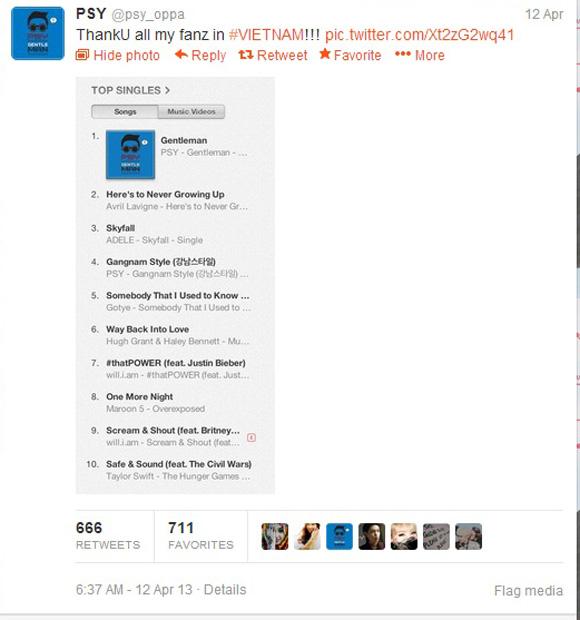 Psy cảm ơn fan Việt vì thành công của Gentleman