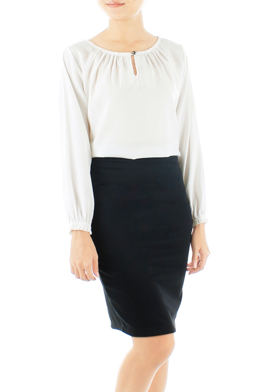 Wonder Ruche Two-way Long Sleeve Blouse - White
