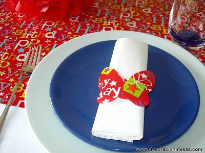 decoracion mesa fiesta niños servilletero mariposa
