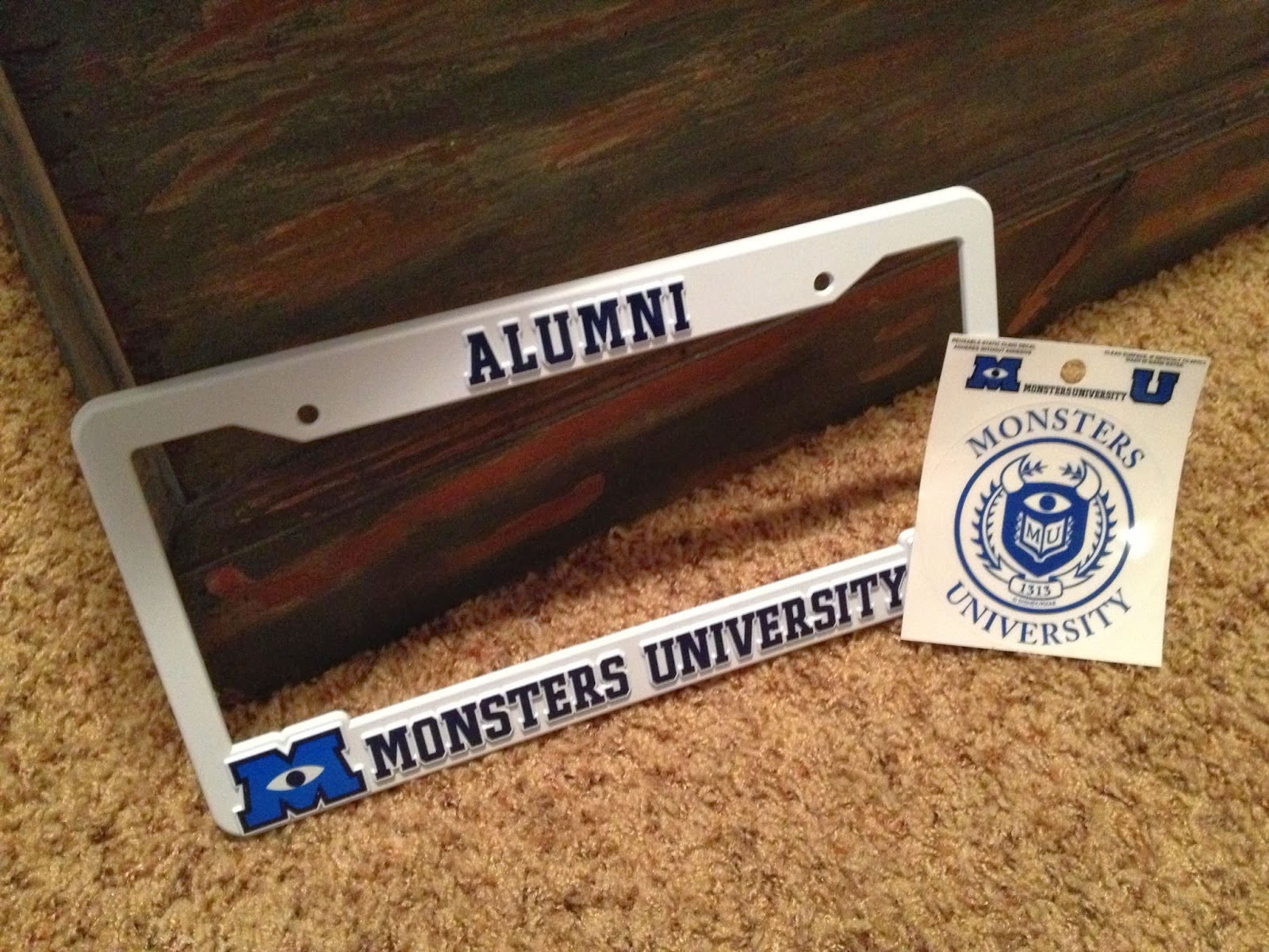 Monsters University Alumni License Plate Frame and Window Decal & Dan the Pixar Fan: Monsters University: Alumni License Plate Frame ...