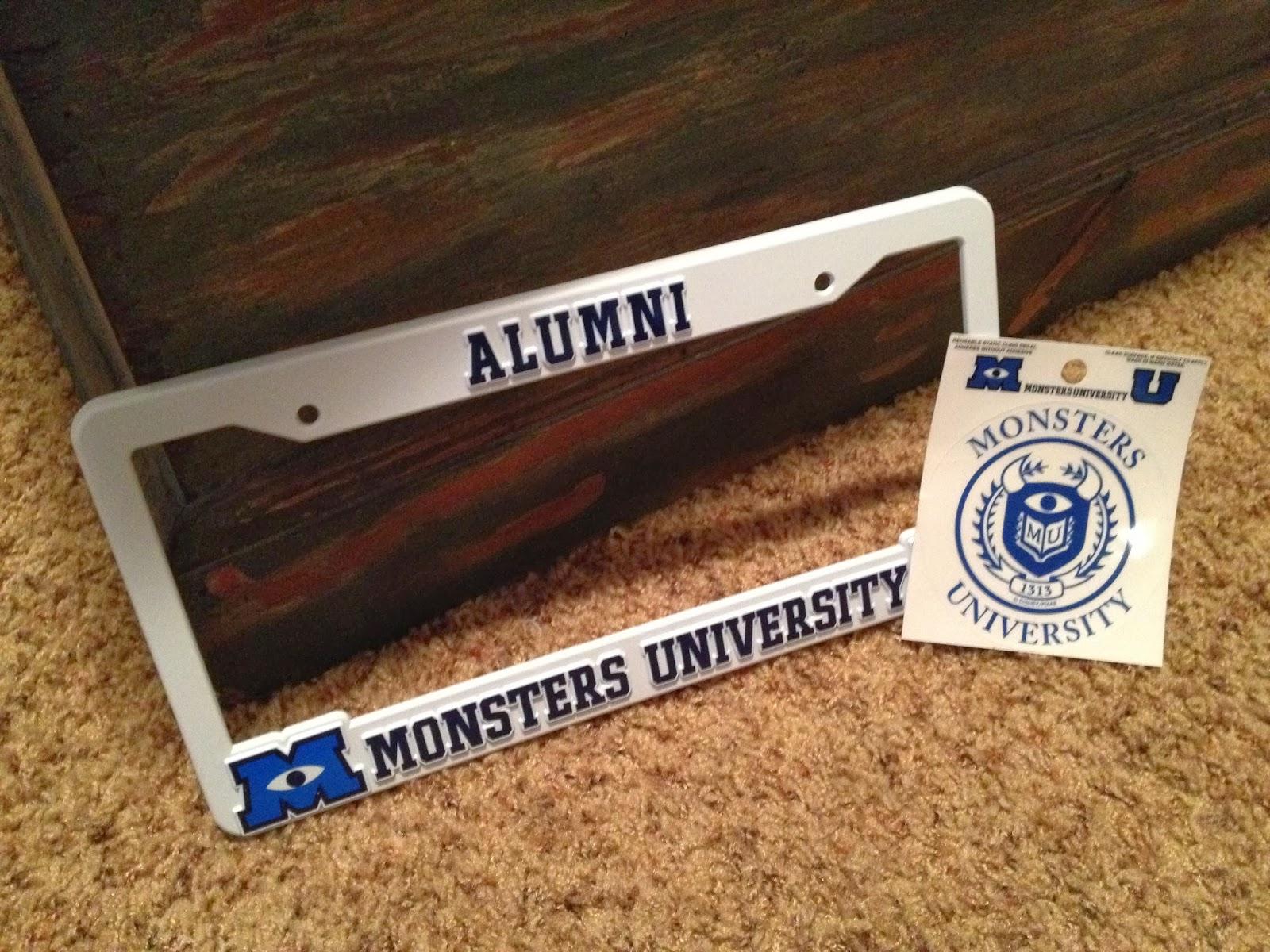 Monsters University Alumni License Plate Frame and Window Decal & Dan the Pixar Fan: Monsters University: Alumni License Plate Frame ...