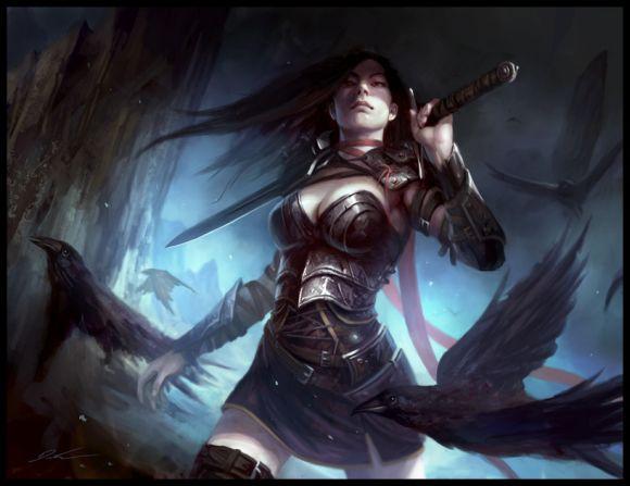 mike lim daarken ilustrações fantasia medieval violência batalhas monstros arte conceitual video games Guerreira e corvos