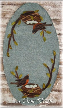 "Awakenings Wool Applique Table Runner 13"" by 24"""