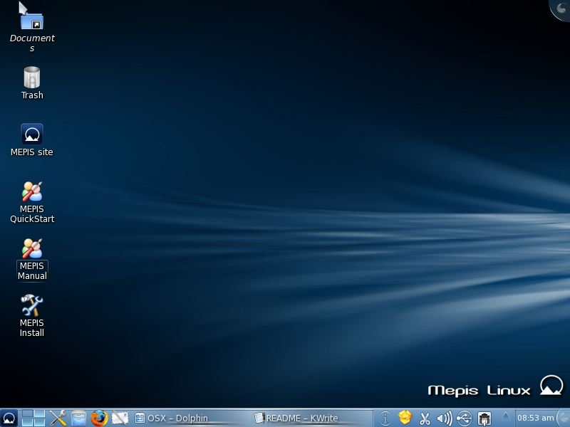MEPIS 11 with older wallpaper and the KDE Blend theme
