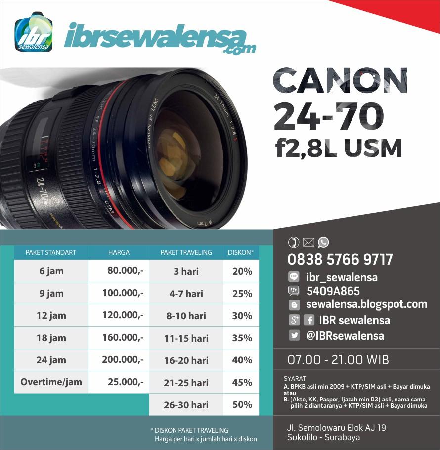 Canon 24-70 mm F2.8 L USM Harga Sewa Rental Lensa Kamera