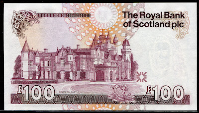 Balmoral Castle Scottish banknotes Royal Bank of Scotland currency 100 Pounds
