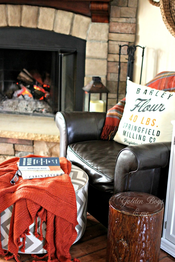 Cozy reading spot by the fireplace with tree stump as side table - www.goldenboysandme.com