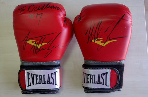 'To Cristiano' is what written on the gloves, along with Mike Tyson's signature