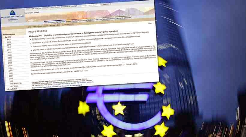 Σκληρό ροκ και απο την ΕΚΤ! Σταματά να κάνει αποδεκτά τα ελληνικά ομόλογα