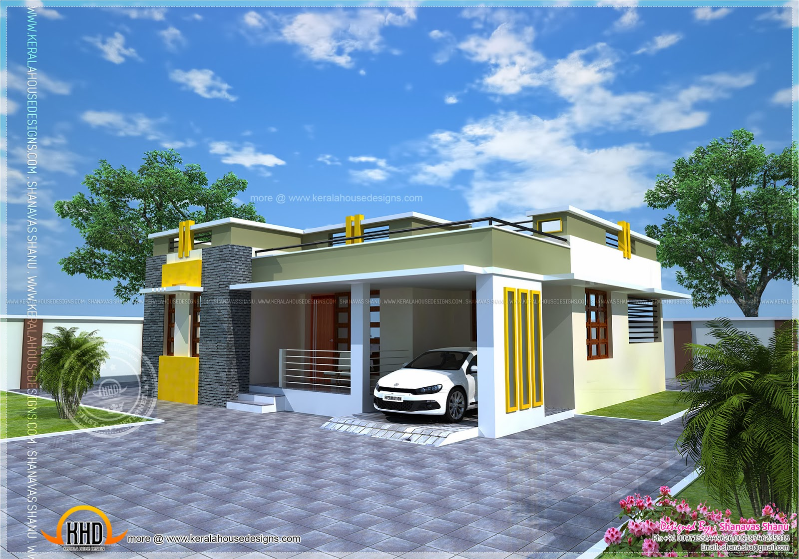 House plan of a small modern villa indian house plans for Kerala style villa plans