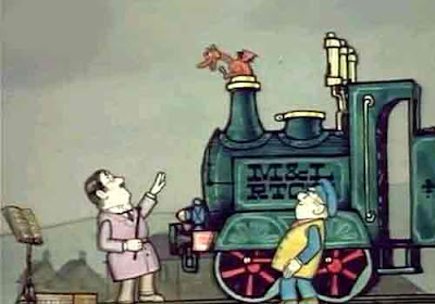 Welsh red dragon Steam train Ivor the engine episode 2 1970 TV choral group conductor tapping stick