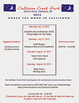 Under The Moon In Callicoon Concert Series Schedule:  (Click image to see a larger version.)