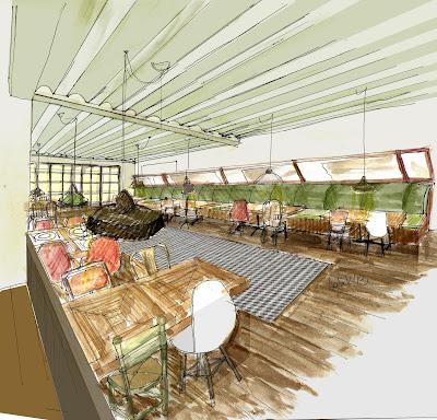 dibujo de proyecto de salón de restaurante con técnica mixta