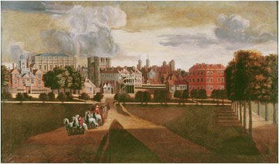 """The Old Palace of Whitehall by Hendrik Danckerts"" by Hendrick Danckerts (fl. 1645–1679) - This file is lacking source information.Please edit this file's description and provide a source.. Licensed under Public Domain via Wikimedia Commons - http://commons.wikimedia.org/wiki/File:The_Old_Palace_of_Whitehall_by_Hendrik_Danckerts.jpg#/media/File:The_Old_Palace_of_Whitehall_by_Hendrik_Danckerts.jpg"