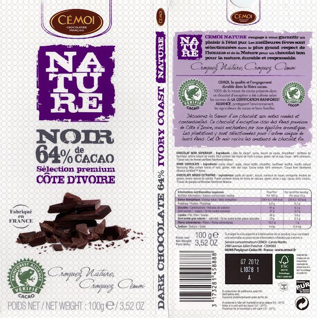 tablette de chocolat noir dégustation cémoi nature côte d'ivoire noir 64
