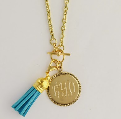 Gold Tone Monogram Pendant Necklace with Suede Tassel Charm