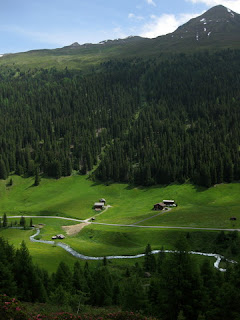 View of the Sertigbach and the Sertig Valley from the ridge above Sertig Dörfli, Switzerland