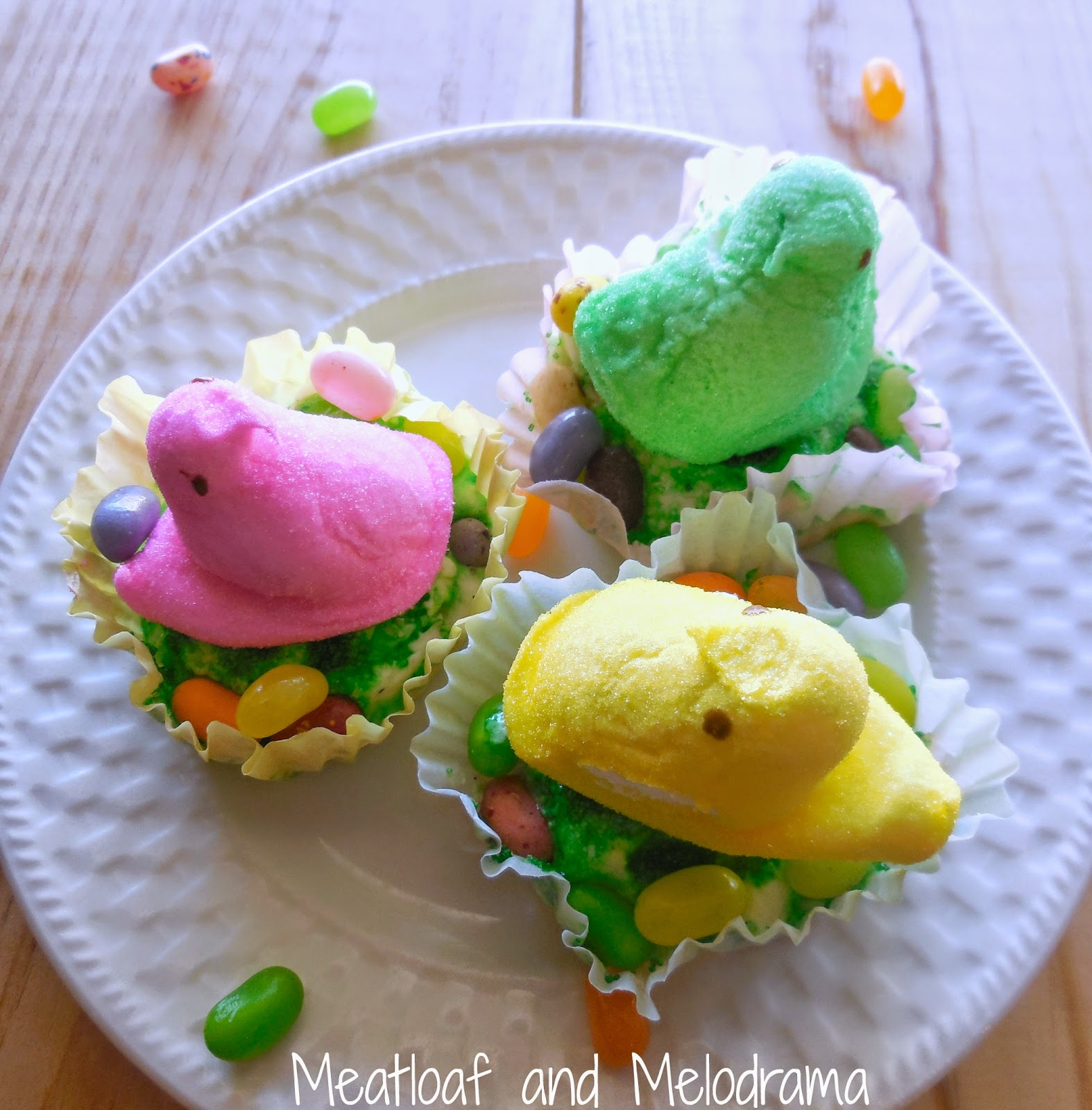 ice cream in cupcake wrappers with peeps and jelly beans