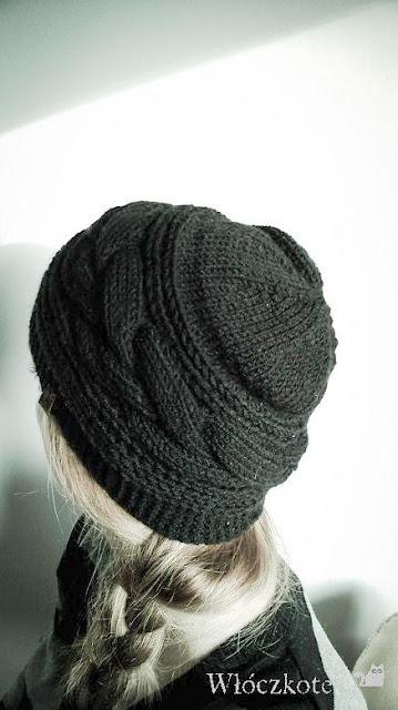 czapka z warkoczem na drutach