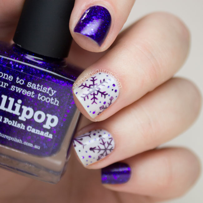 Purple Snowflake Nail Art The Nailasaurus Uk Nail Art Blog