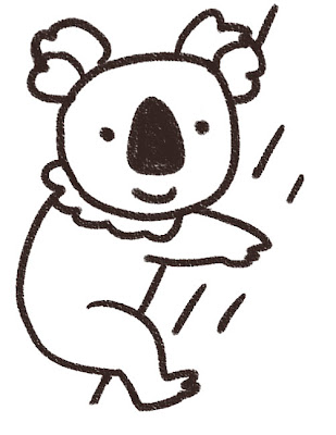 コアラのイラスト(動物) 白黒線画