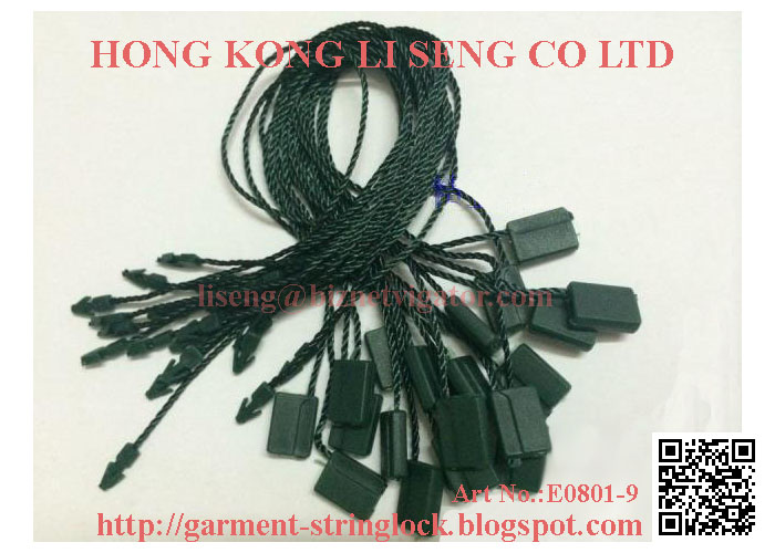 Black Hang Tag Nylon String Snap Lock Pin Loop Fastener Hook Ties Factory
