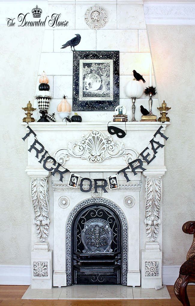 The Decorated House Halloween Mantel Decorating Black