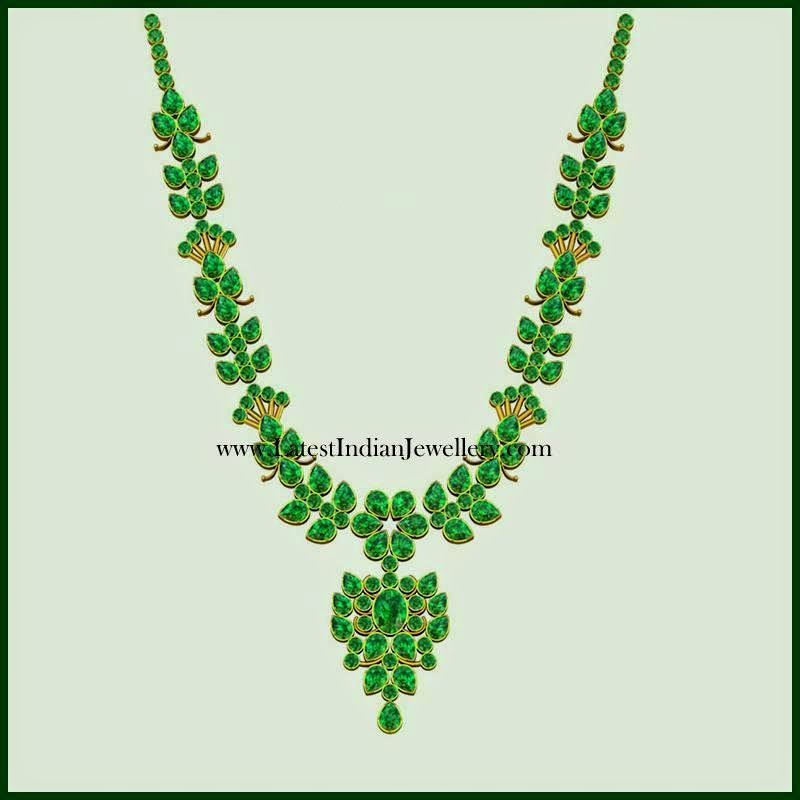 Latest Emerald Gold Necklace Design