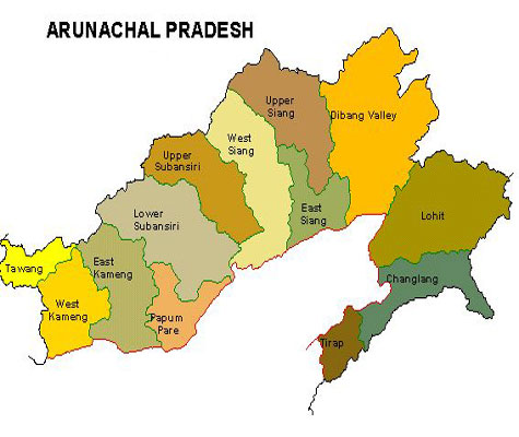 Arunachal Pradesh map, District map